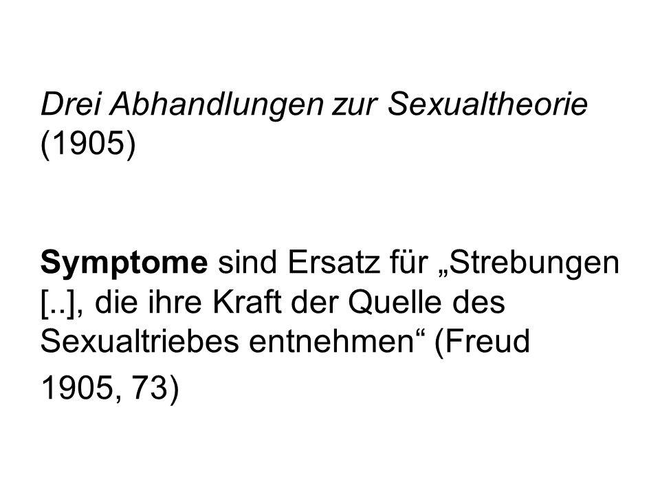 """Drei Abhandlungen zur Sexualtheorie (1905) Symptome sind Ersatz für """"Strebungen [..], die ihre Kraft der Quelle des Sexualtriebes entnehmen (Freud 1905, 73)"""